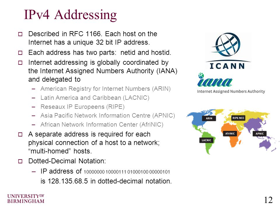 12 IPv4 Addressing  Described in RFC 1166.