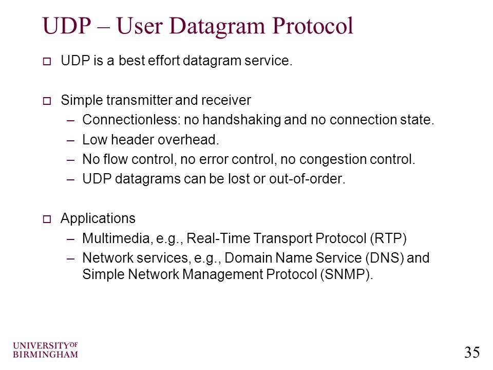 35 UDP – User Datagram Protocol  UDP is a best effort datagram service.