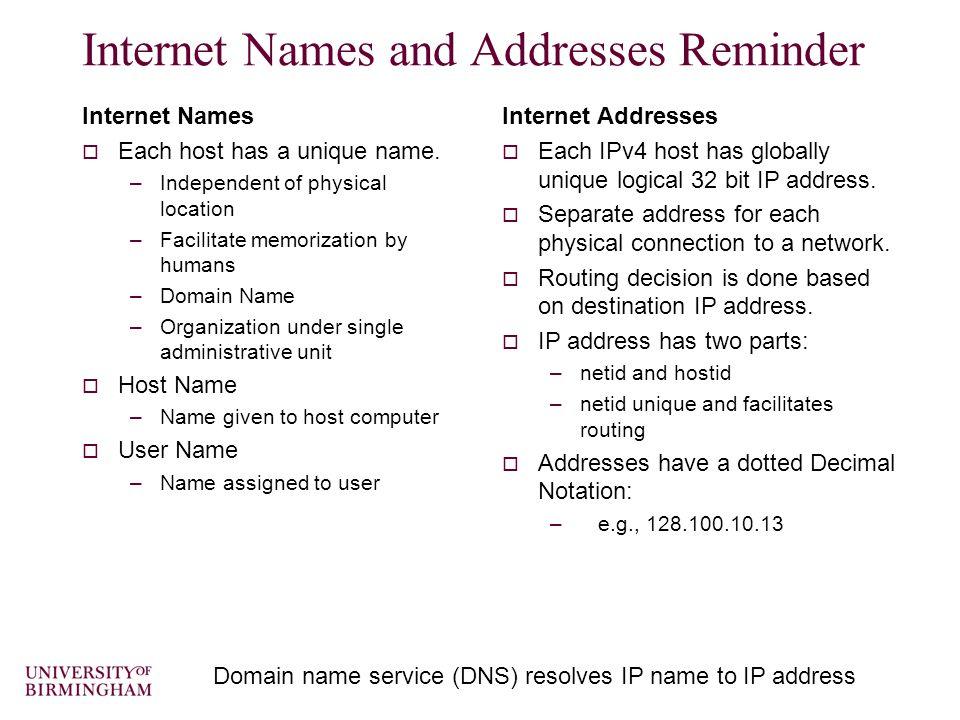 UDP Datagram  0-1023 –Well-known ports  Source and destination port numbers –Client ports are ephemeral.