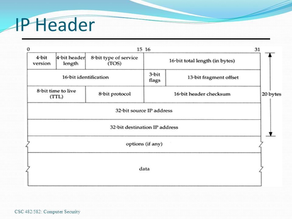 CSC 482/582: Computer Security IP Header