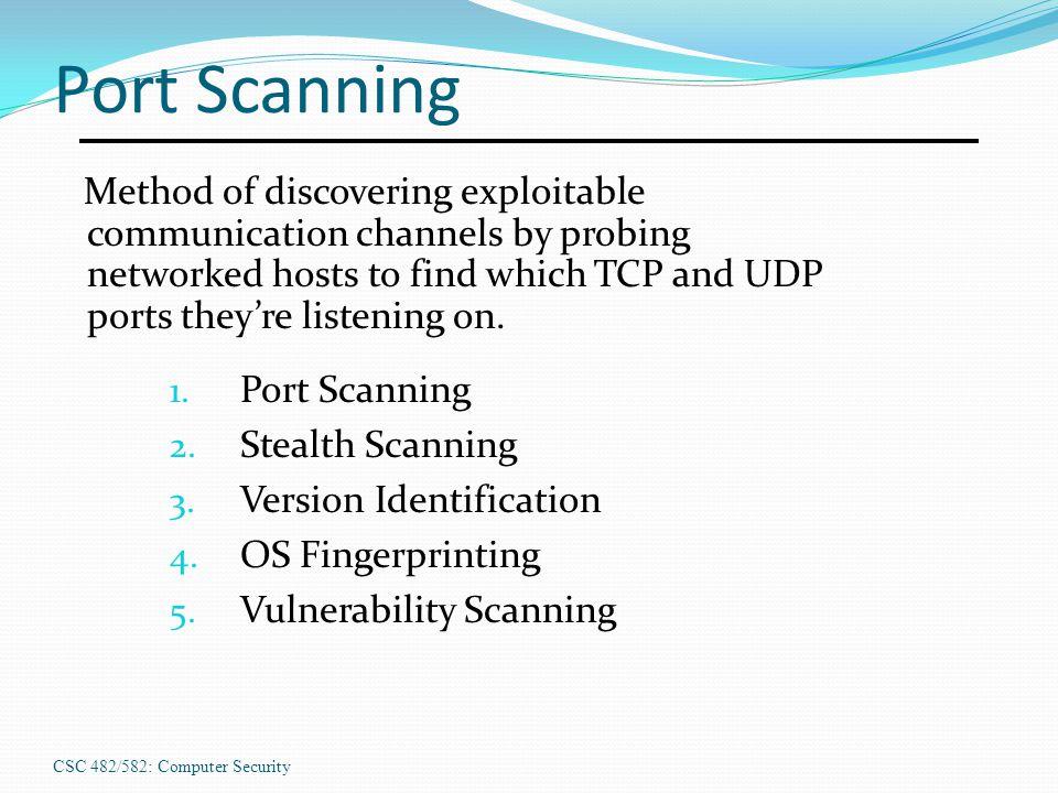 CSC 482/582: Computer Security Port Scanning 1.Port Scanning 2.