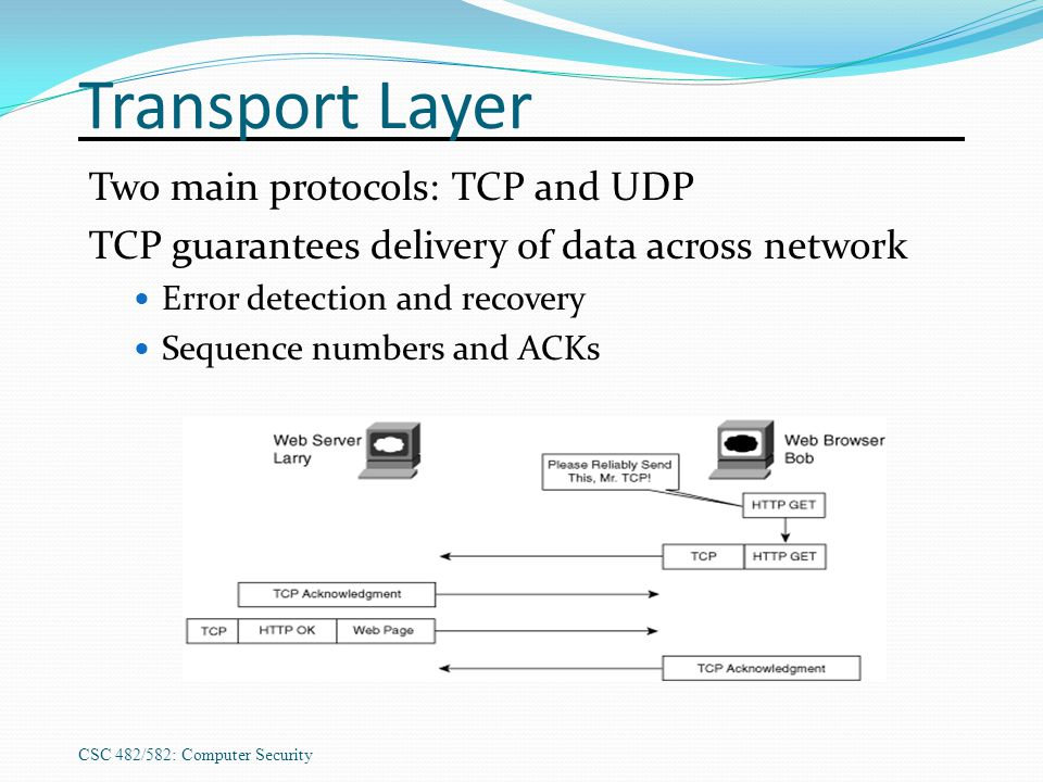 CSC 482/582: Computer Security Transport Layer Two main protocols: TCP and UDP TCP guarantees delivery of data across network Error detection and reco
