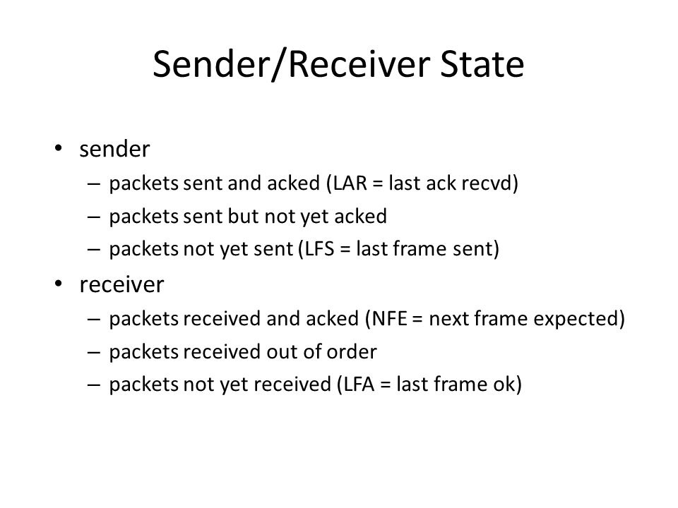 Sender/Receiver State sender – packets sent and acked (LAR = last ack recvd) – packets sent but not yet acked – packets not yet sent (LFS = last frame