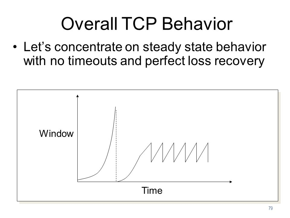 79 Overall TCP Behavior Time Window Let's concentrate on steady state behavior with no timeouts and perfect loss recovery