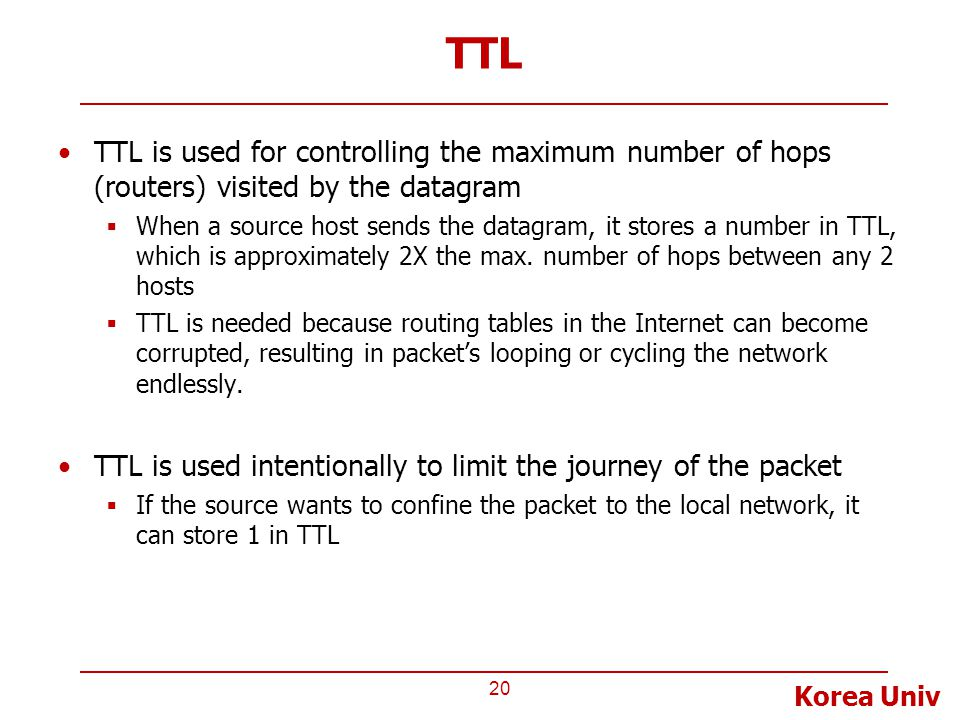 Korea Univ TTL TTL is used for controlling the maximum number of hops (routers) visited by the datagram  When a source host sends the datagram, it st