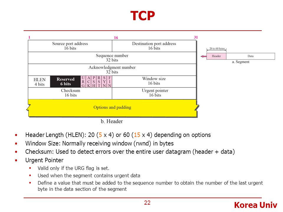 Korea Univ TCP 22 Header Length (HLEN): 20 (5 x 4) or 60 (15 x 4) depending on options Window Size: Normally receiving window (rwnd) in bytes Checksum