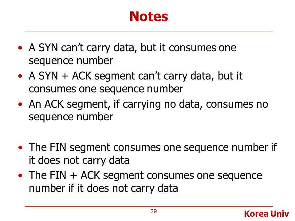 Korea Univ Notes A SYN can't carry data, but it consumes one sequence number A SYN + ACK segment can't carry data, but it consumes one sequence number