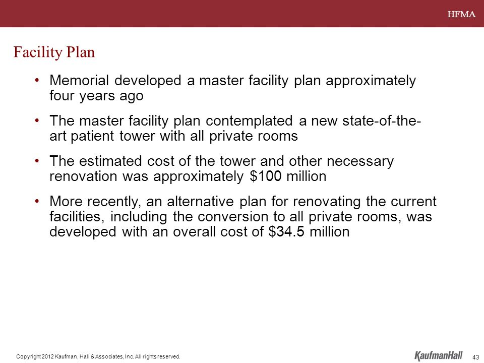 HFMA Copyright 2012 Kaufman, Hall & Associates, Inc. All rights reserved. Facility Plan Memorial developed a master facility plan approximately four y