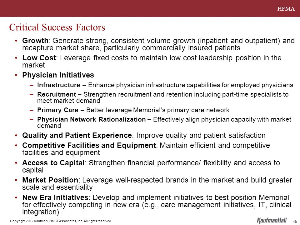 HFMA Copyright 2012 Kaufman, Hall & Associates, Inc. All rights reserved. Critical Success Factors Growth: Generate strong, consistent volume growth (
