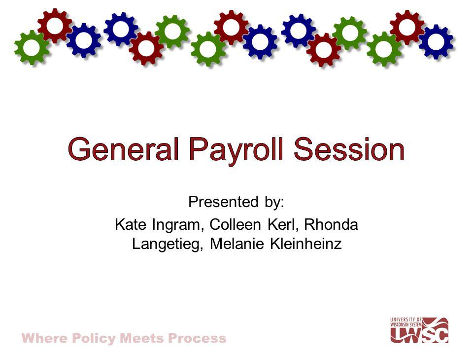 Where Policy Meets Process Presented by: Kate Ingram, Colleen Kerl, Rhonda Langetieg, Melanie Kleinheinz