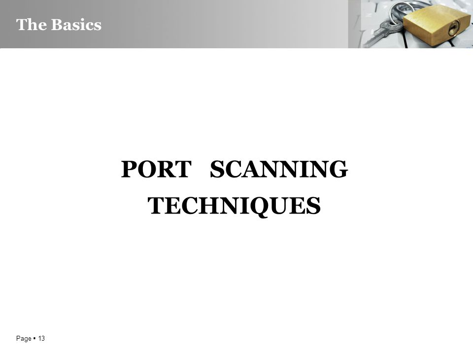 Page  13 The Basics PORT SCANNING TECHNIQUES