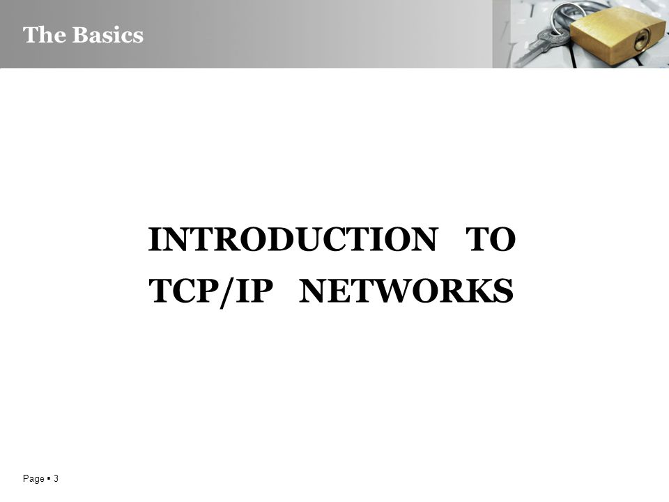 Page  3 The Basics INTRODUCTION TO TCP/IP NETWORKS