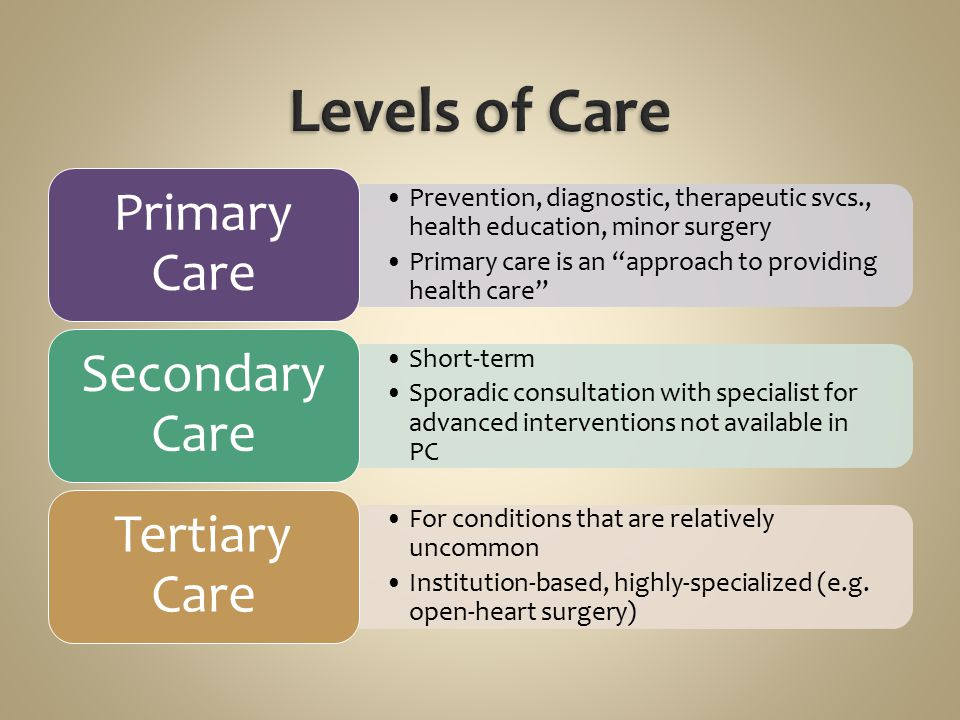 "Prevention, diagnostic, therapeutic svcs., health education, minor surgery Primary care is an ""approach to providing health care"" Primary Care Short-t"