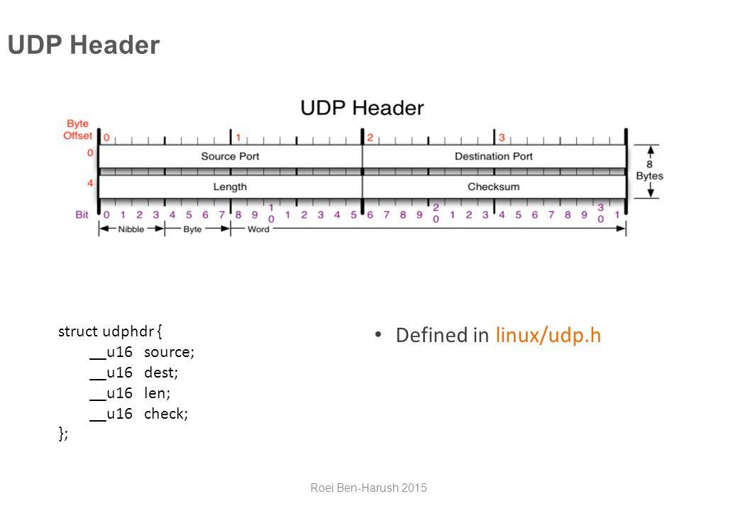 UDP Header struct udphdr { __u16 source; __u16 dest; __u16 len; __u16 check; }; Defined in linux/udp.h Roei Ben-Harush 2015