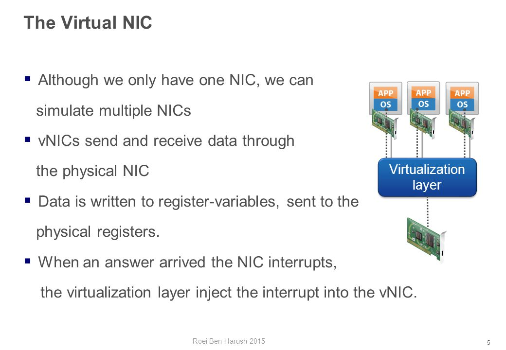 5 The Virtual NIC  Although we only have one NIC, we can simulate multiple NICs  vNICs send and receive data through the physical NIC  Data is written to register-variables, sent to the physical registers.