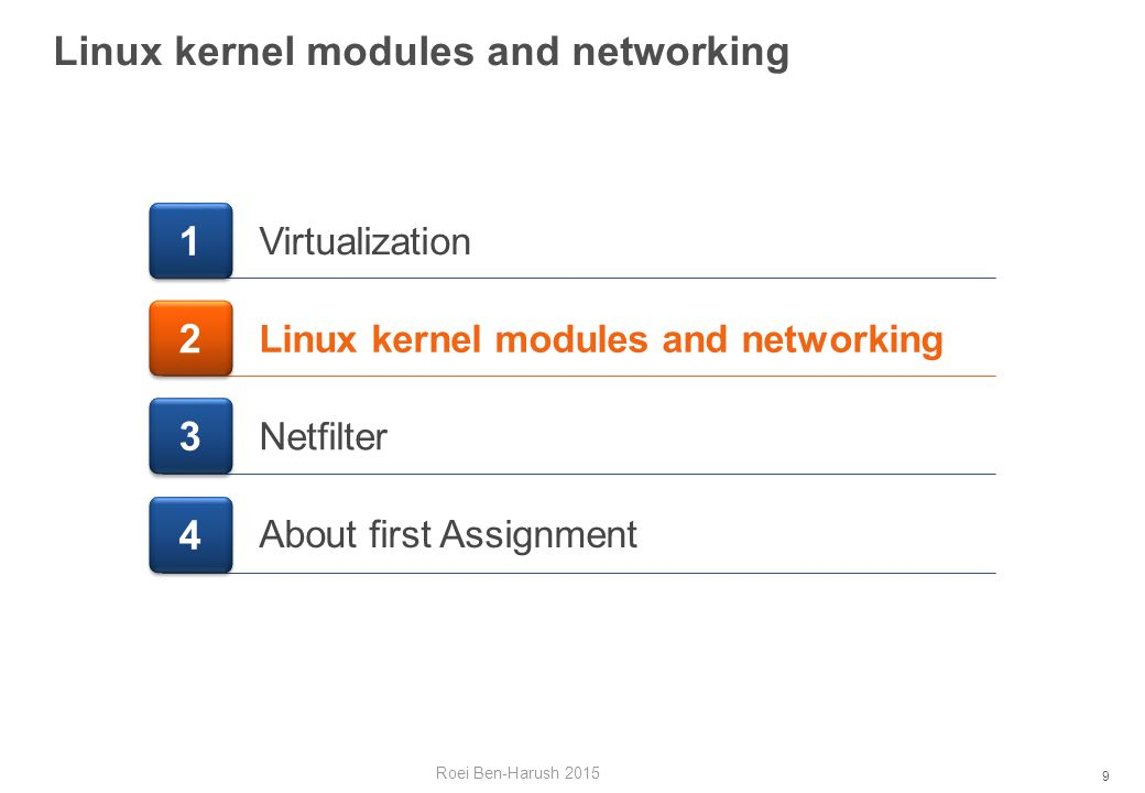 9 Linux kernel modules and networking 1 1 Virtualization Linux kernel modules and networking 2 2 Netfilter 3 3 About first Assignment 4 4 Roei Ben-Harush 2015
