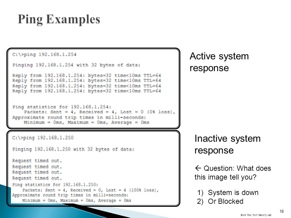 Active system response Inactive system response Build Your Own Security Lab 18  Question: What does this image tell you? 1)System is down 2)Or Blocke