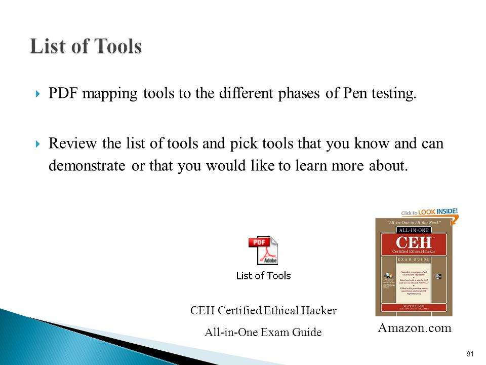  PDF mapping tools to the different phases of Pen testing.  Review the list of tools and pick tools that you know and can demonstrate or that you wo