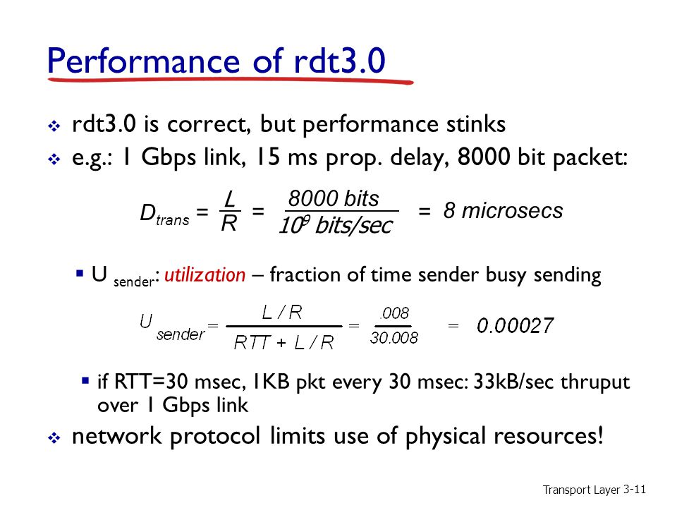 Transport Layer 3-11 Performance of rdt3.0  rdt3.0 is correct, but performance stinks  e.g.: 1 Gbps link, 15 ms prop. delay, 8000 bit packet:  U se
