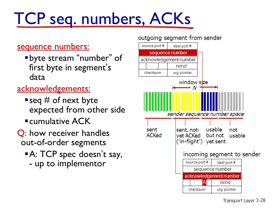 "Transport Layer 3-28 TCP seq. numbers, ACKs sequence numbers:  byte stream ""number"" of first byte in segment's data acknowledgements:  seq # of next"
