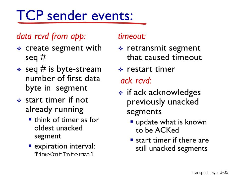 Transport Layer 3-35 TCP sender events: data rcvd from app:  create segment with seq #  seq # is byte-stream number of first data byte in segment 