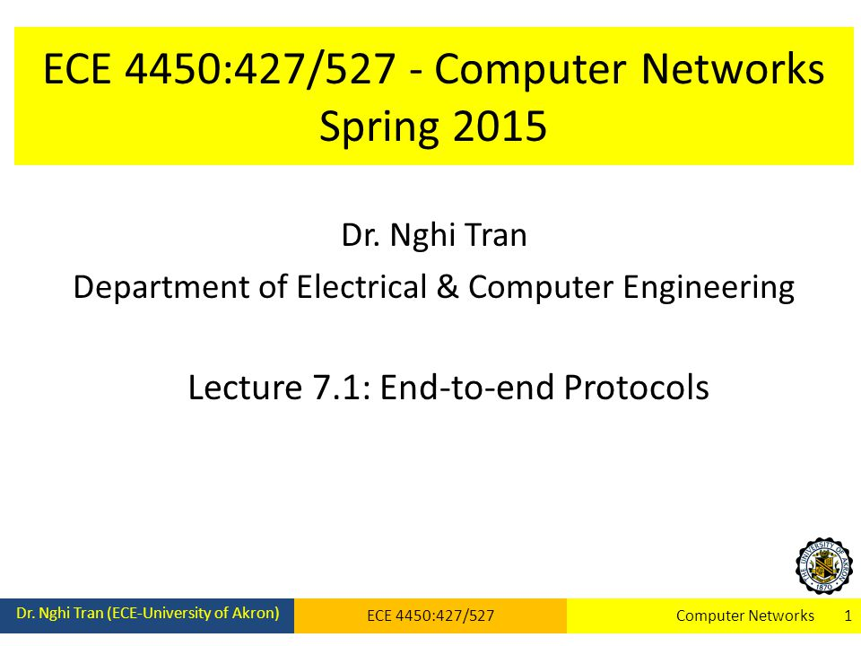 ECE 4450:427/527 - Computer Networks Spring 2015 Dr. Nghi Tran Department of Electrical & Computer Engineering Lecture 7.1: End-to-end Protocols Dr. N