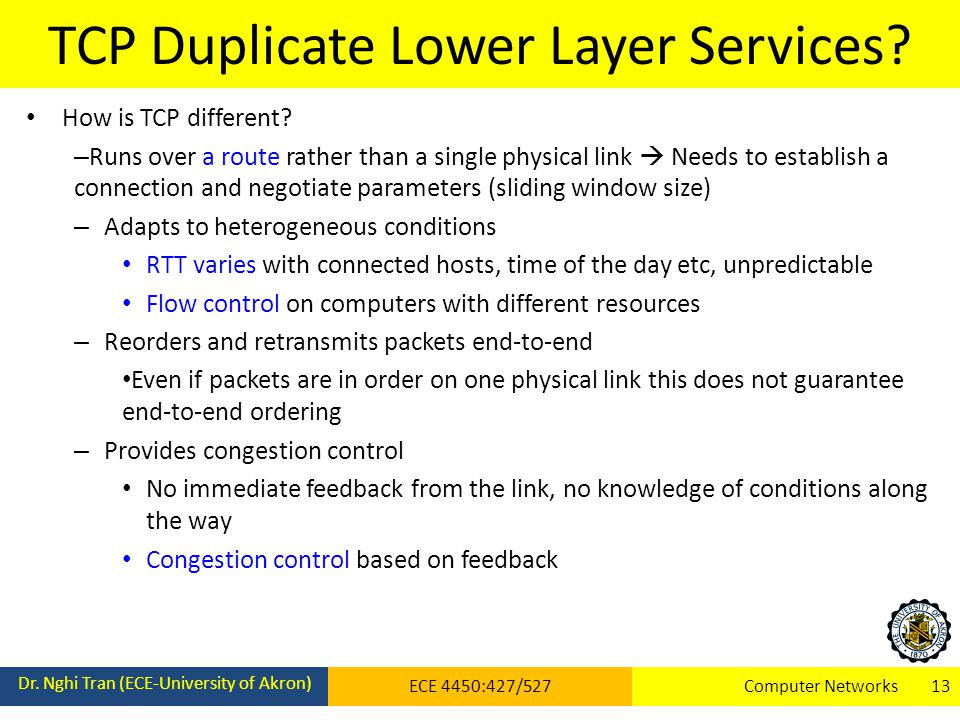 TCP Duplicate Lower Layer Services. Dr.