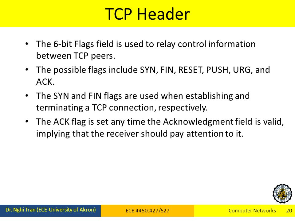 TCP Header Dr. Nghi Tran (ECE-University of Akron) ECE 4450:427/527Computer Networks 20 The 6-bit Flags field is used to relay control information bet