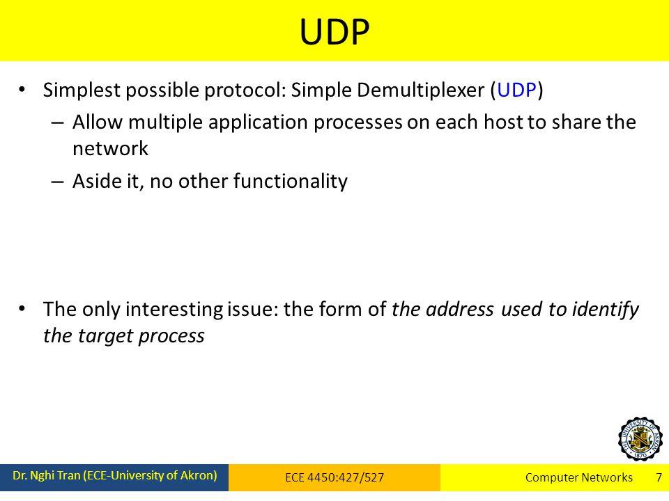 UDP Dr. Nghi Tran (ECE-University of Akron) ECE 4450:427/527Computer Networks 7 Simplest possible protocol: Simple Demultiplexer (UDP) – Allow multipl