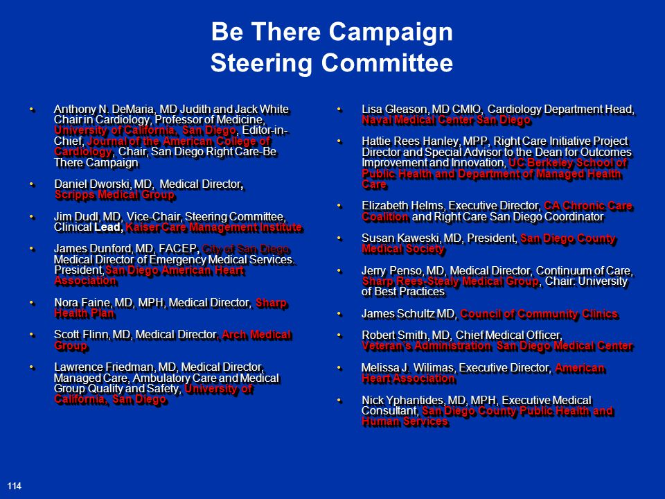 Be There Campaign Steering Committee Anthony N.