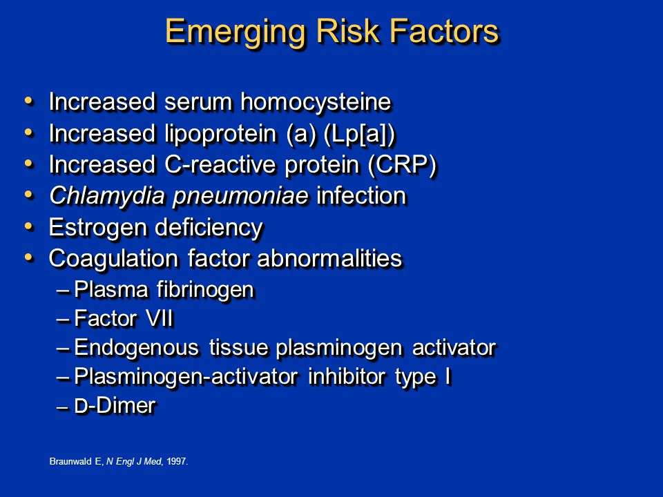 Emerging Risk Factors Increased serum homocysteine Increased serum homocysteine Increased lipoprotein (a) (Lp[a]) Increased lipoprotein (a) (Lp[a]) Increased C-reactive protein (CRP) Increased C-reactive protein (CRP) Chlamydia pneumoniae infection Chlamydia pneumoniae infection Estrogen deficiency Estrogen deficiency Coagulation factor abnormalities Coagulation factor abnormalities –Plasma fibrinogen –Factor VII –Endogenous tissue plasminogen activator –Plasminogen-activator inhibitor type I –D -Dimer Increased serum homocysteine Increased serum homocysteine Increased lipoprotein (a) (Lp[a]) Increased lipoprotein (a) (Lp[a]) Increased C-reactive protein (CRP) Increased C-reactive protein (CRP) Chlamydia pneumoniae infection Chlamydia pneumoniae infection Estrogen deficiency Estrogen deficiency Coagulation factor abnormalities Coagulation factor abnormalities –Plasma fibrinogen –Factor VII –Endogenous tissue plasminogen activator –Plasminogen-activator inhibitor type I –D -Dimer Braunwald E, N Engl J Med, 1997.