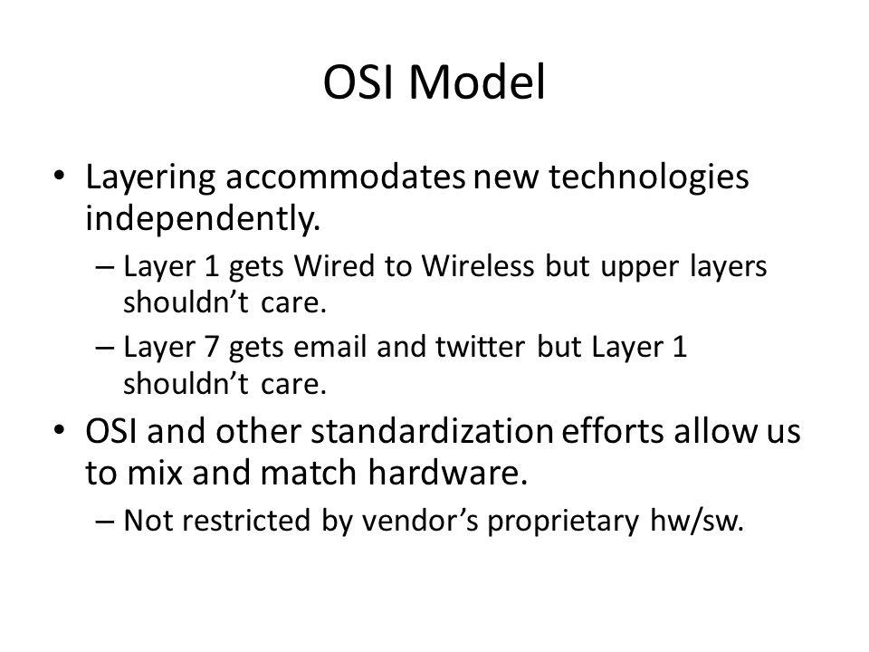 OSI Model Layering accommodates new technologies independently.