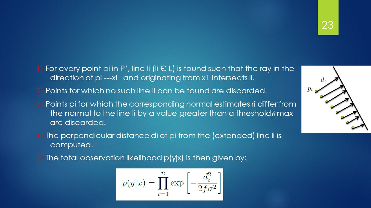 1) For every point pi in P', line li (li Є L) is found such that the ray in the direction of pi ---xi and originating from x1 intersects li.