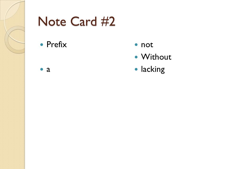 Note card #3 Prefix amphi Both Around of both sides