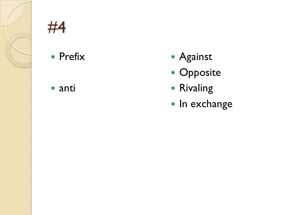 #5 Prefix dia Through Across Apart between