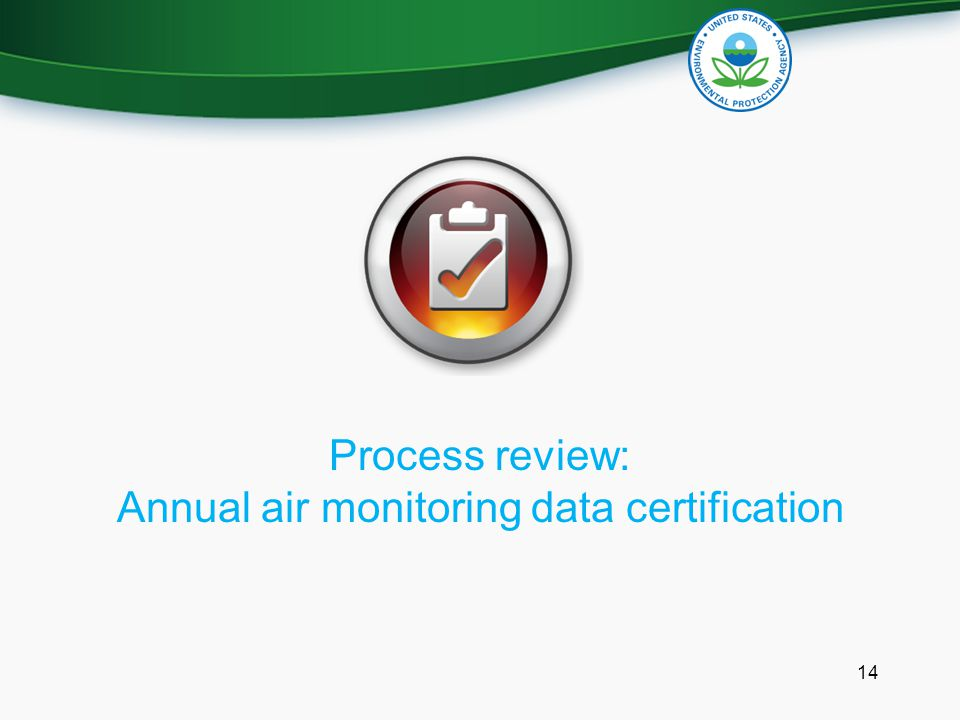 Process review: Annual air monitoring data certification 14
