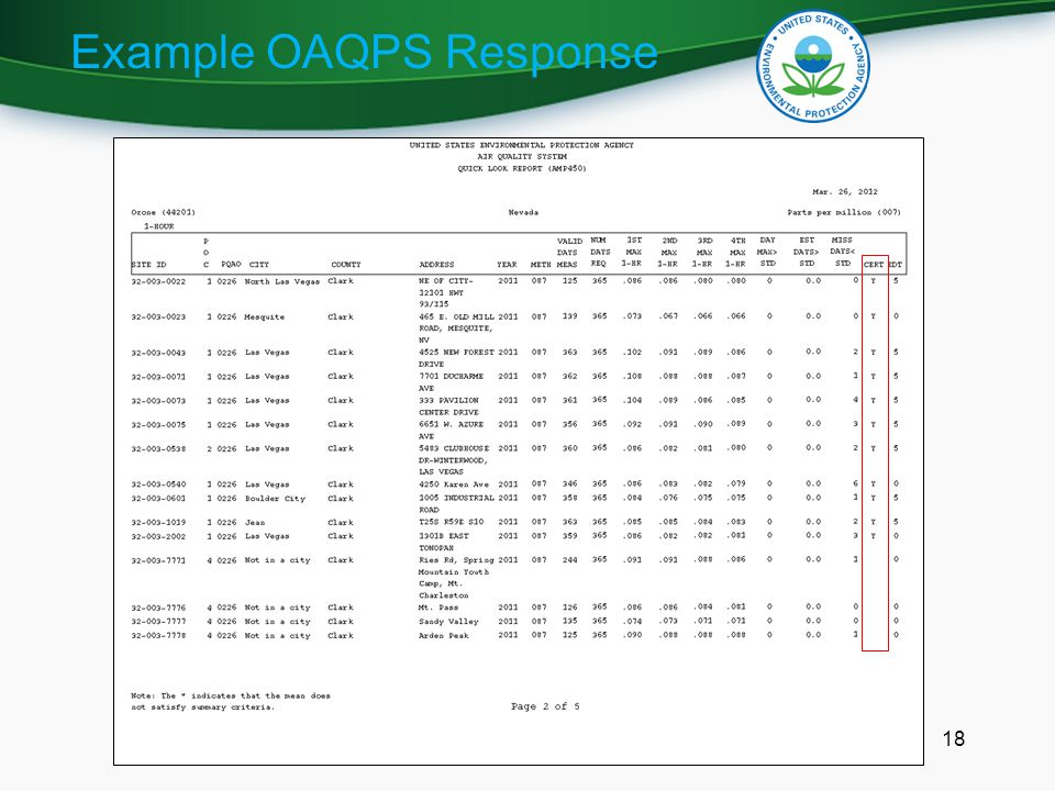 Example OAQPS Response 18