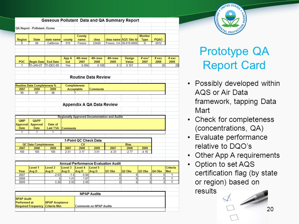 Prototype QA Report Card Possibly developed within AQS or Air Data framework, tapping Data Mart Check for completeness (concentrations, QA) Evaluate performance relative to DQO's Other App A requirements Option to set AQS certification flag (by state or region) based on results 20
