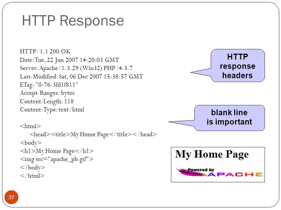 HTTP Response 37 HTTP/1.1 200 OK Date: Tue, 22 Jun 2007 14:20:03 GMT Server: Apache/1.3.29 (Win32) PHP/4.3.7 Last-Modified: Sat, 06 Dec 2007 15:38:57