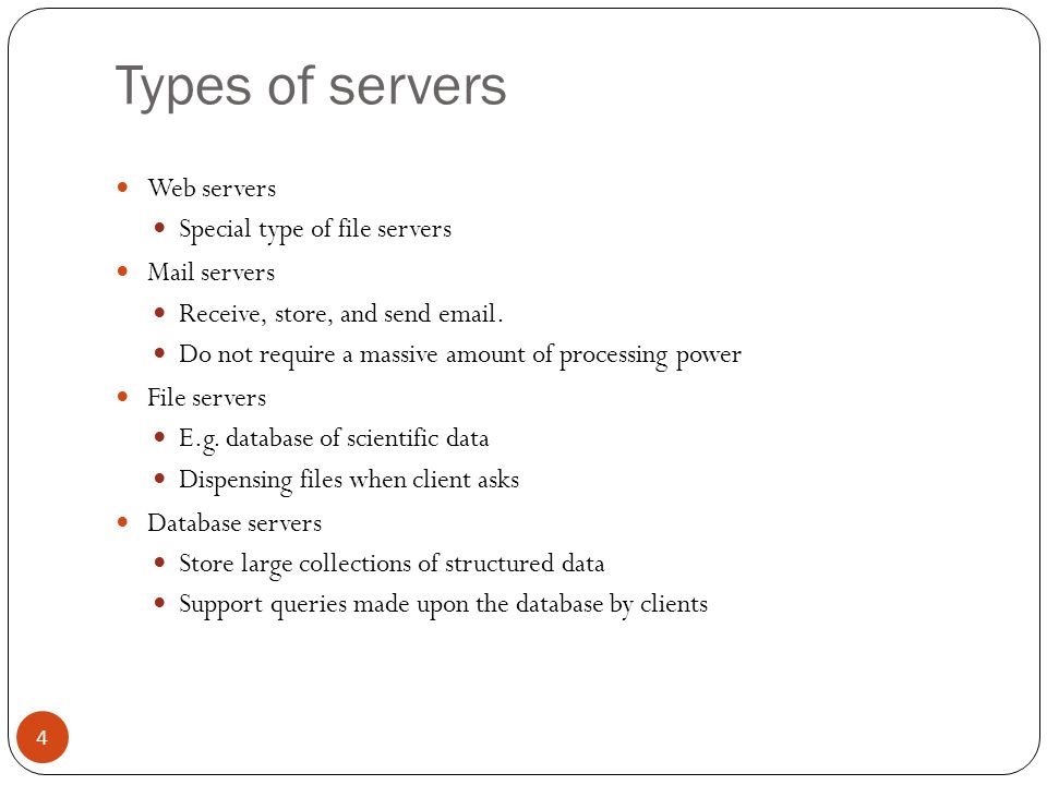 Types of servers Groupware servers Groupware is software which organises the work of a number of staff in an enterprise Manages the time of individuals and teams Provide reports for billing of the time spent on particular tasks E-mail list management Print servers Domain Name System (DNS) Servers 5 DNS Server 130.182.125.66 www.refer.com