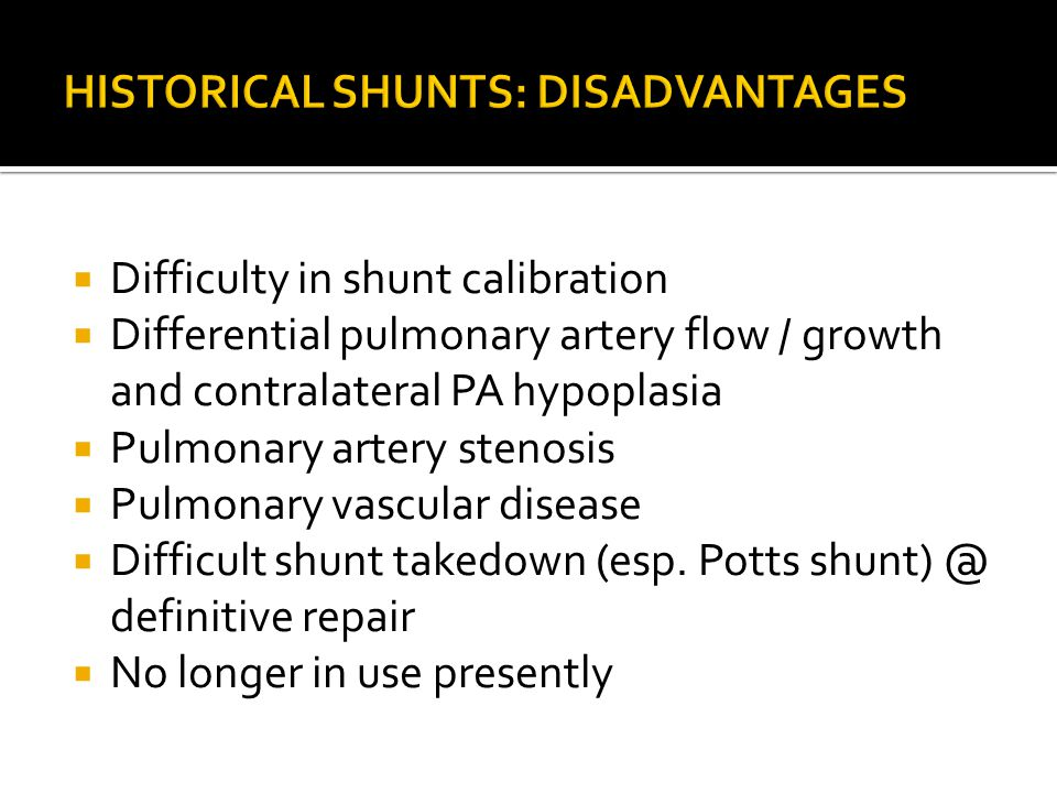  Difficulty in shunt calibration  Differential pulmonary artery flow / growth and contralateral PA hypoplasia  Pulmonary artery stenosis  Pulmonar