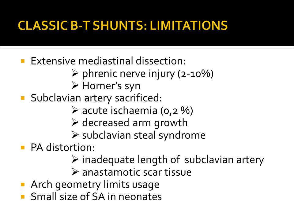  Extensive mediastinal dissection:  phrenic nerve injury (2-10%)  Horner's syn  Subclavian artery sacrificed:  acute ischaemia (0,2 %)  decrease