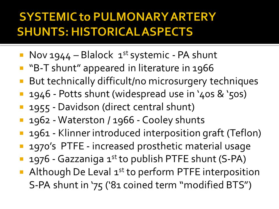 """ Nov 1944 – Blalock 1 st systemic - PA shunt  """"B-T shunt"""" appeared in literature in 1966  But technically difficult/no microsurgery techniques  19"""