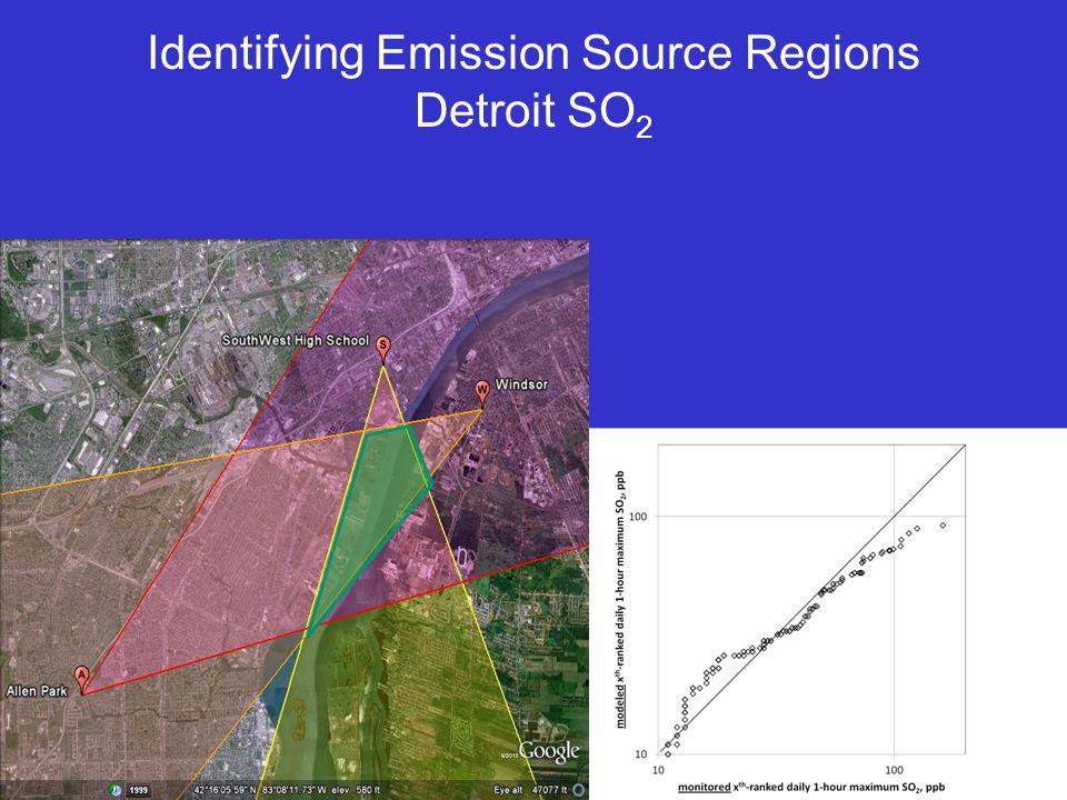Identifying Emission Source Regions Detroit SO 2
