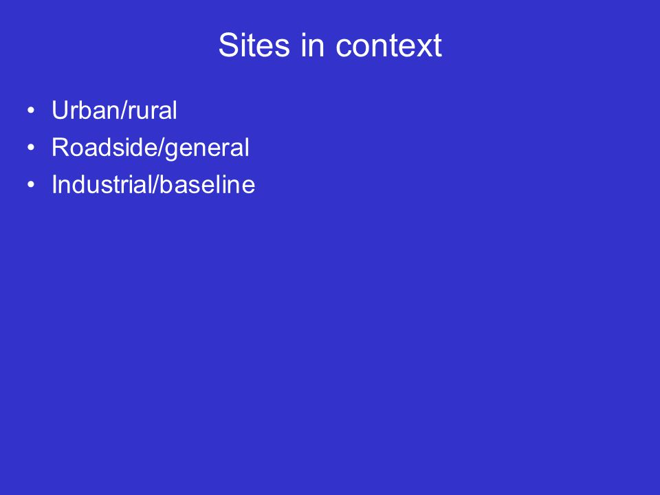 Sites in context Urban/rural Roadside/general Industrial/baseline