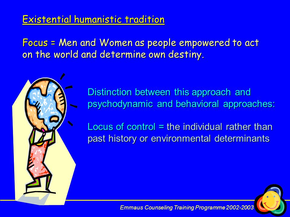 Existential humanistic tradition Focus = Men and Women as people empowered to act on the world and determine own destiny.