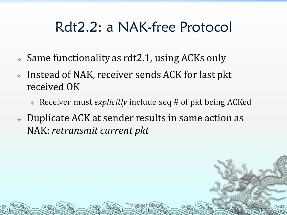 Rdt2.2: a NAK-free Protocol  Same functionality as rdt2.1, using ACKs only  Instead of NAK, receiver sends ACK for last pkt received OK  Receiver m
