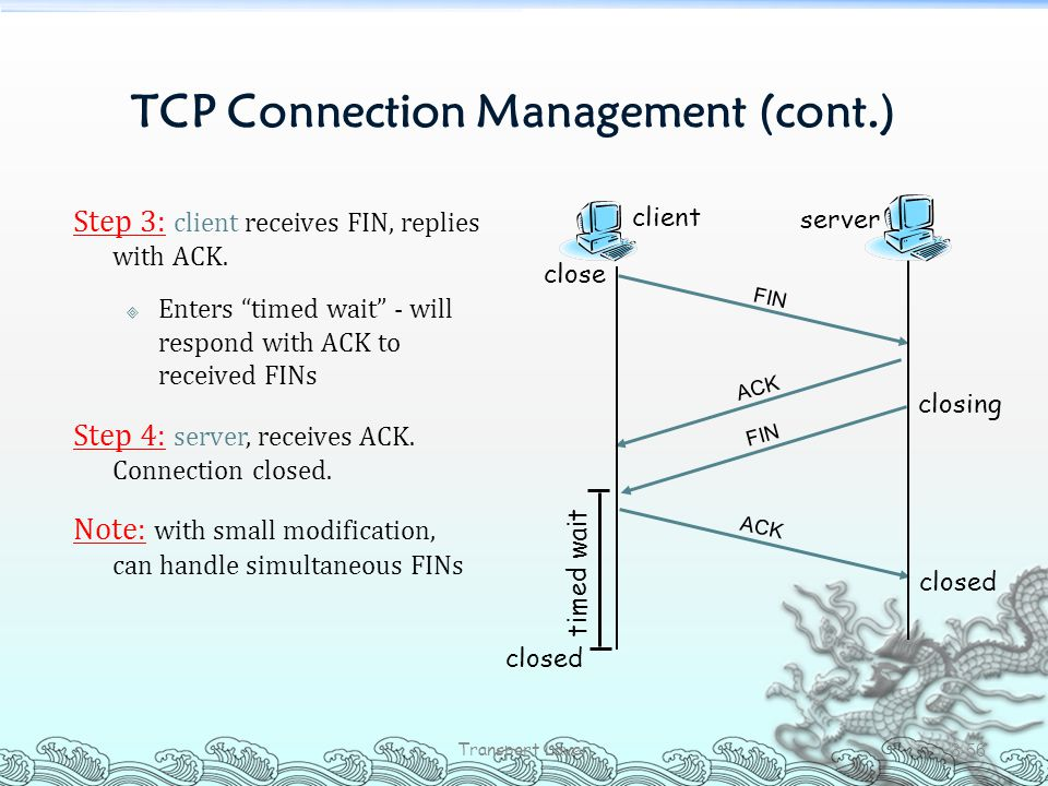 """TCP Connection Management (cont.) Step 3: client receives FIN, replies with ACK.  Enters """"timed wait"""" - will respond with ACK to received FINs Step 4"""
