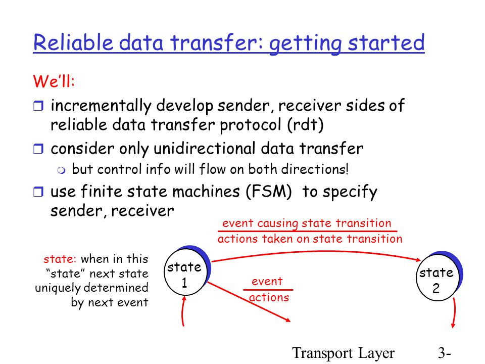 Transport Layer3- 25 Reliable data transfer: getting started We'll:  incrementally develop sender, receiver sides of reliable data transfer protocol (rdt)  consider only unidirectional data transfer  but control info will flow on both directions.