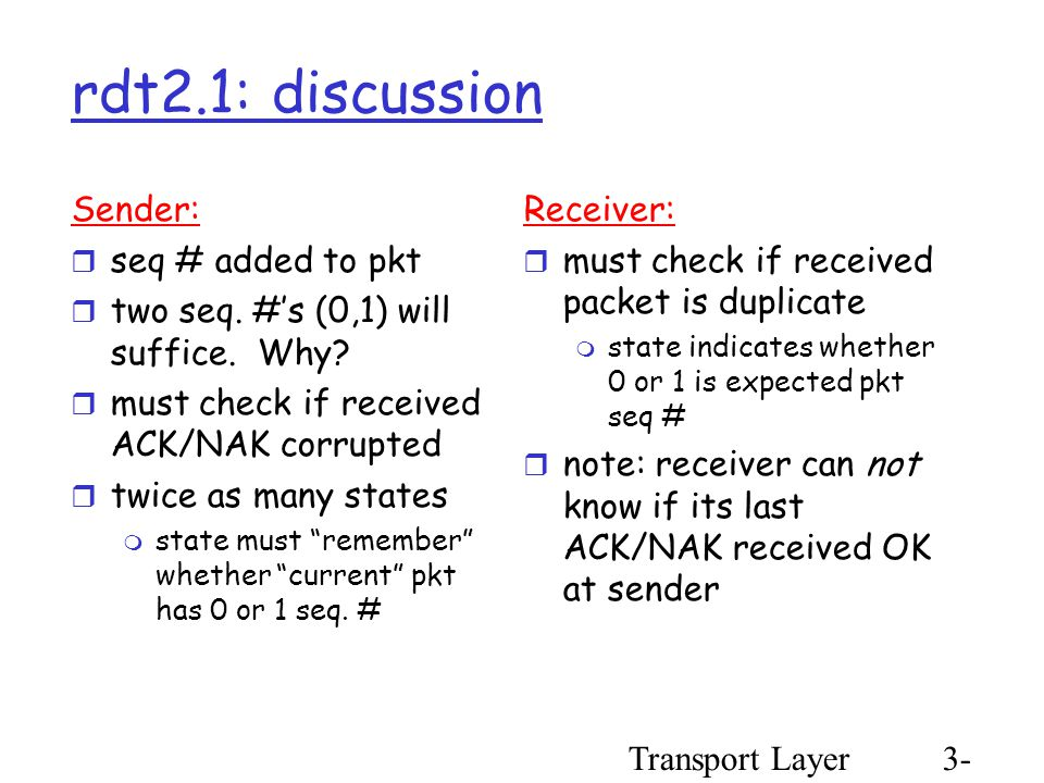 Transport Layer3- 34 rdt2.1: discussion Sender:  seq # added to pkt  two seq.